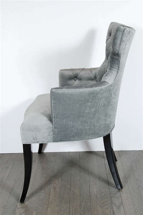 Velvet Tufted Dining Chairs Set Of Six 1940 S Klismos Tufted Back Dining Chairs In Smoked Platinum Velvet At 1stdibs