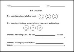 student self evaluation templates printable forms calendar template 2016
