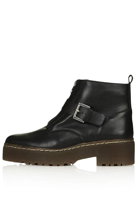topshop attain zip front boots in black lyst