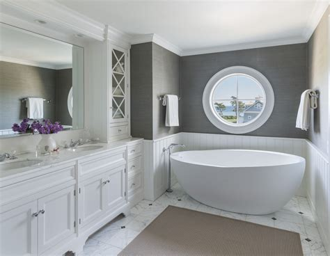 grey wallpaper for bathroom master bathroom free standing tub gray grasscloth