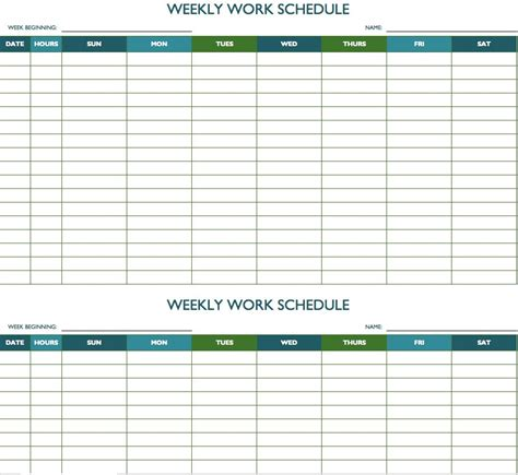 Free Weekly Schedule Templates For Excel Smartsheet Work Calendar Template
