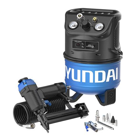 hyundai 2 gal portable electric air compressor with 2 in 1 brad nailer stapler combo kit