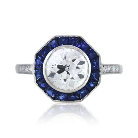 and sapphire deco ring platinum octagonal deco and sapphire