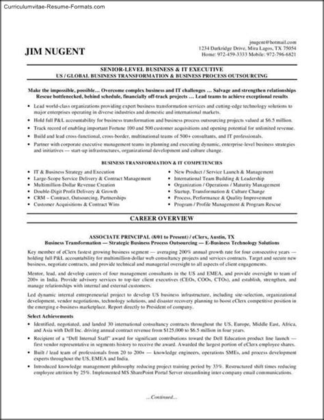 executive format resume template free sles exles format resume curruculum vitae