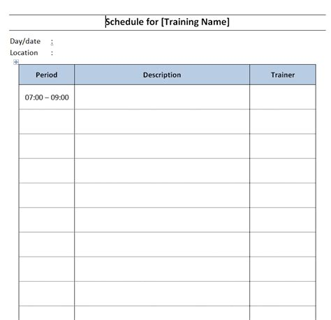 Training Schedule Template Free Microsoft Word Templates Word Schedule Template