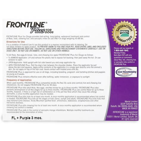 frontline plus for dogs 45 88 lbs frontline plus for dogs 45 88 lbs purple 6 month