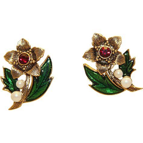christmas earrings adults vintage avon poinsettia faux pearl earrings guilloche from margaritaville market on