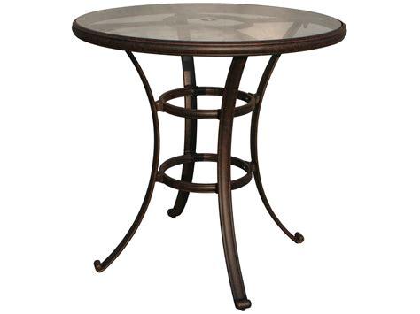 terrace side table glass antique brass darlee outdoor living glass top cast aluminum antique