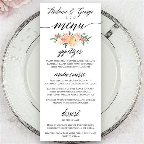 menu cards template wedding reception wedding menus printed menus menu cards dinner menus