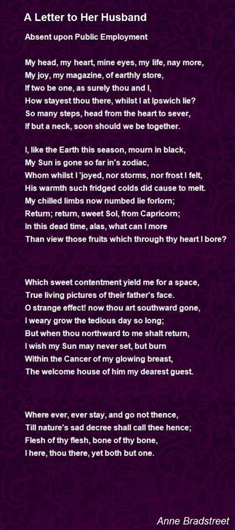 letter to my husband a letter to husband poem by bradstreet poem