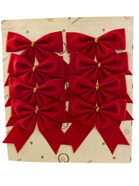 red velvet bow decorations 8 x 80mm christmas
