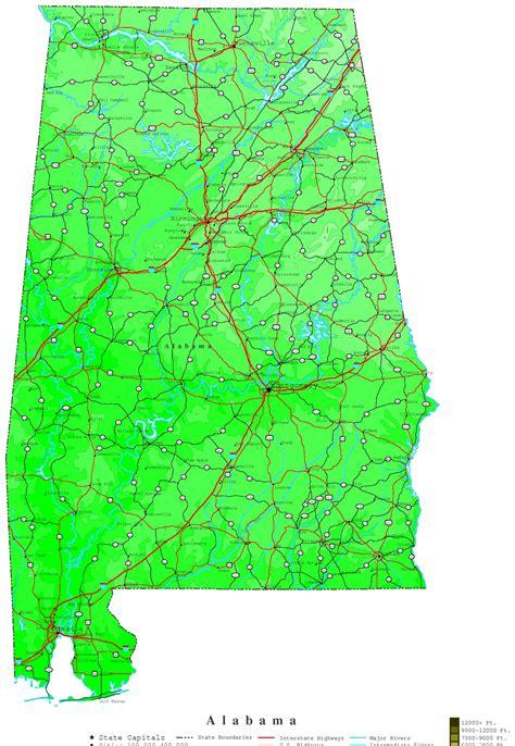 alabama map alabama contour map