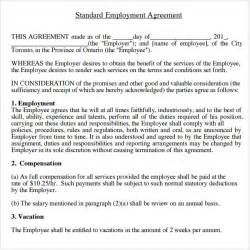sample employment agreement 5 free documents download