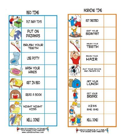printable toddler routine chart daily routine charts for kids with pictures artwork of