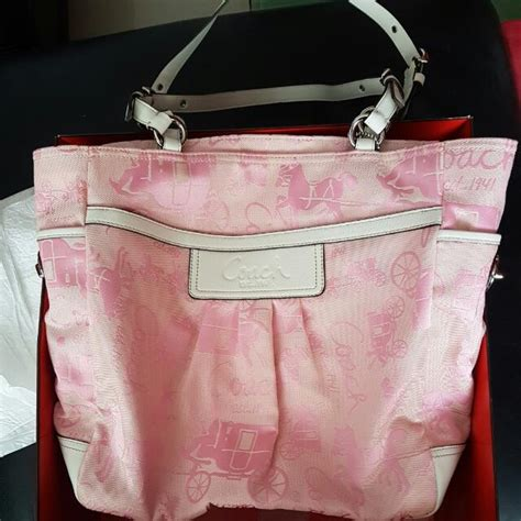 Coach Signature Pink Large bnwt coach pink big and carriage tote f14676 brand new from u s coach bag original