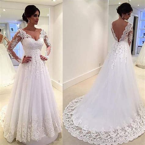 White Lien Wedding Dresses by White Vintage Wedding Gowns Lace Sleeve Open Back A