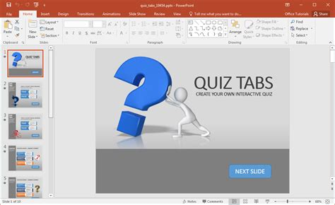 Create A Quiz In Powerpoint With Quiz Tabs Powerpoint Template Quiz Powerpoint Template