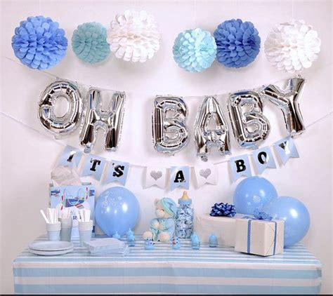 Baby Shower Decoration Kits by Baby Shower Decoration Kit For Boy Blue And Silver Baby