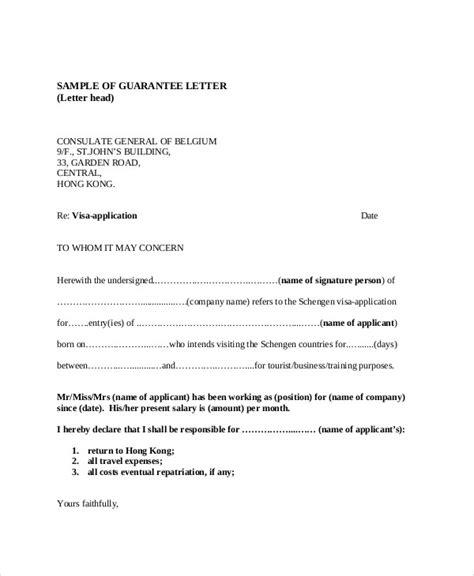 sle letter of guarantee for us visa guarantee letter sle
