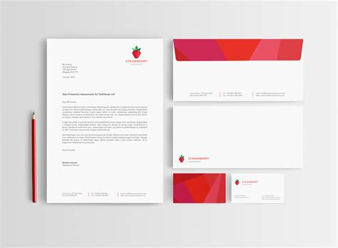 Business Card Letterhead Envelope Template strawberry assurance