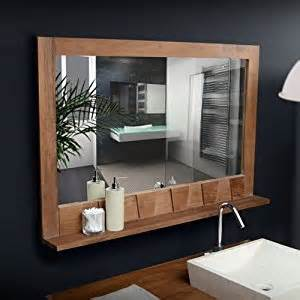 bathroom mirror with shelf attached solid teak bathroom mirror with shelf attached hand carved 100x70 new tikamoon amazon co uk