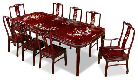 Rosewood Dining Room Set 96in rosewood mother of pearl motif dining table with 8