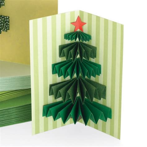 3d christmas tree handmade christmas card idea