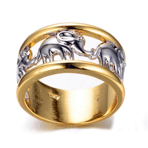 Gold Fashion by Size 6 7 8 9 10 White Elephant Fashion Ring