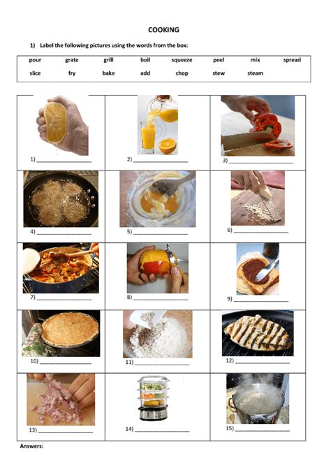 Cooking Vocabulary Worksheet by 82 Free Cooking Worksheets