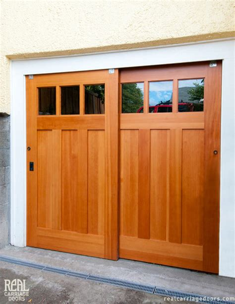 Utility Garage Door Exterior Bypassing Sliding Doors Opens Up Utility Space Traditional Garage And Shed