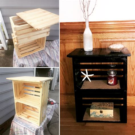 wooden crate end table diy crate nightstand 30 pallet craft ideas