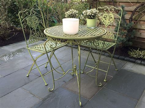 Garden Furniture Set Table 2 Chairs Antique Style Green Wrought Iron Patio Furniture