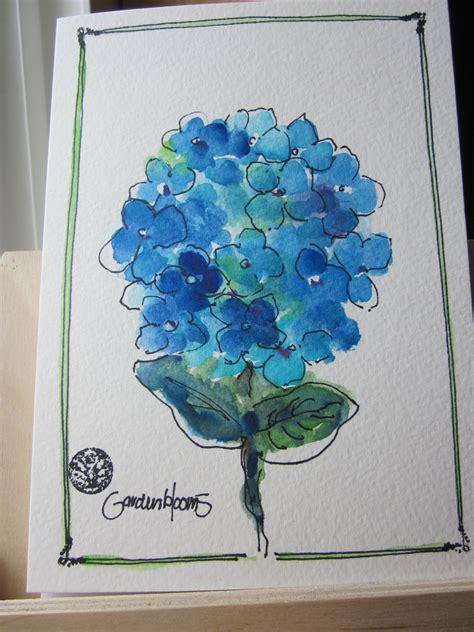 blue hydrangea bloom watercolor card