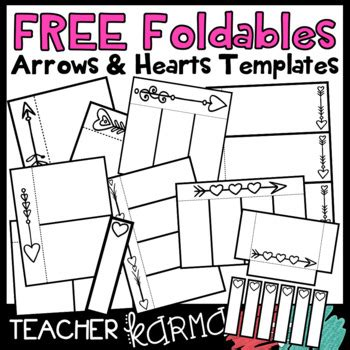 Free Foldables Interactives Flip Book Templates Arrows Hearts Flip Book Templates For Teachers
