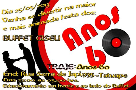 Modelo De Convite Para Festa Photoshop E Arte Convites Photoshop E Arte Convite Para Festa Quot Anos 60 Quot