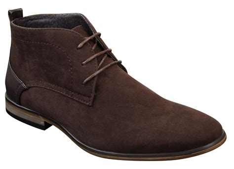 mens suede desert ankle grey brown blue boots shoes