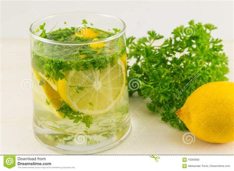Parsley Lemon Detox by Water With Parsley And Lemon Stock Photo Image 70263682