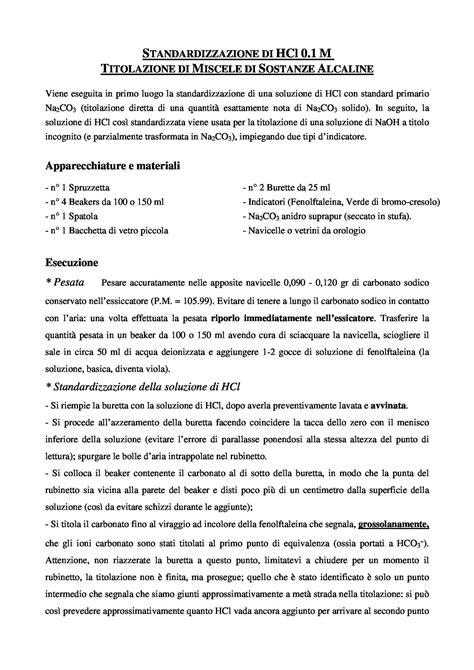 Chimica Analitica Dispense by Laboratorio Di Chimica Analitica Titolazione Di Miscele