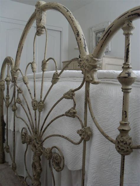 Beautiful Painted Vintage Iron Bed At Burlap Luxe Antique Wrought Iron Bed Frames