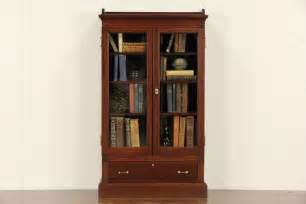 Antique Bookcases With Glass Doors Eastlake 1870 Antique Cherry Small Bookcase Wavy Glass Doors Ebay