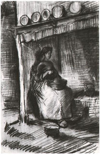 interior  peasant woman sitting   fireplace