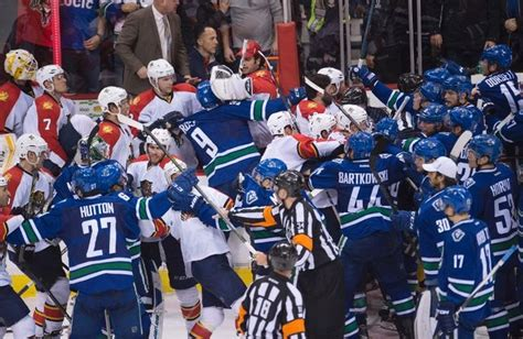 hockey bench clearing brawl panthers canucks tussle shows brawling is thing of past