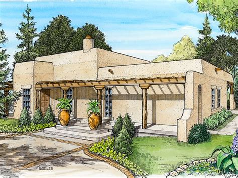 Adobe House Plans Small Southwestern Adobe Home Plan Design 008h 0021 At