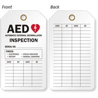Aed Inspection Tags For Automatic External Defibrillator Inspections Aed Maintenance Checklist Template