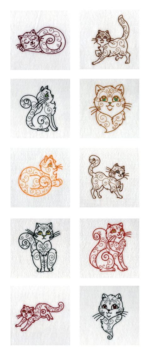 tattoo embroidery designs swirly cats embroidery machine design details tattoos