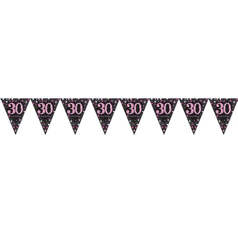 Flag Banner Anniversary Pink Dan Blue 30th birthday pennant flag banner black pink decorations age 30 bunting ebay