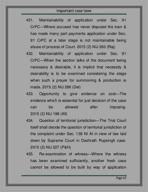 section 91 of crpc useful judgment on 138
