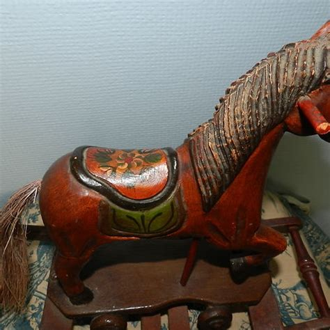 antique hand painted ls old vintage antique wooden rocking horse figure hand
