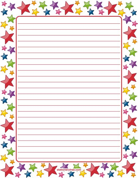 printable writing paper with lines and border printable star stationery and writing paper multiple