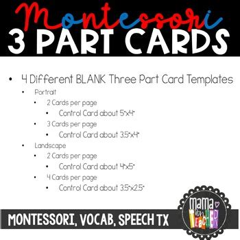 montessori card set template blank montessori style 3 part nomenclature cards template
